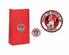 20 Minnie Mouse 2 inch Stickers Party Bag Tags Favors Lollipop Personalize