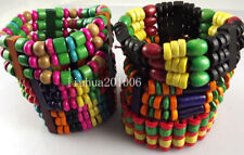 Wholesale 36 pcs Color mix Charm elastic wood beads bracelets fashion jewelry