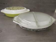 Lot Of 2 Vintage Pyrex Divided Baking Dishes Casseroles 1 & 1.5 Qt