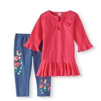 Wonder Nation Cutest Boho Vest Floral Legging 3-Piece Outfit Set Ruffle Shirt