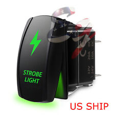 LED Strobe Green Waterproof ROCKER SWITCH LASER ETCHED 5 PIN 12v 20a CAR Marine