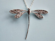 A Beautiful 925 Sterling Silver Dragonfly Pendant Necklace,L