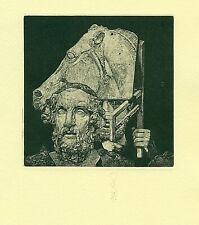Exlibris Etching  Bookmark: Rusachek