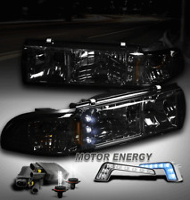 91-96 CHEVY CAPRICE/94+ IMPALA LED SMOKE CRYSTAL HEAD LIGHTS+BLUE DRL+6000K HID