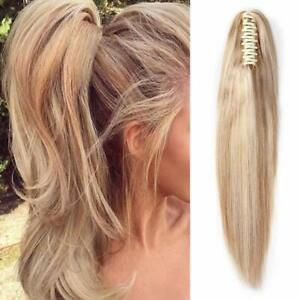 Silk Straight 100%Remy Human Hair Ponytail Claw Clip in Hair Extension for Women