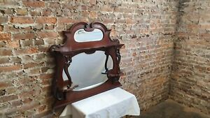 Large Vintage Mahogany Over Mantel Mantle Mirror Fireplace  Late Victorian.