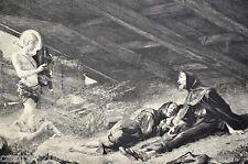 GRAVURE 1886 Vision St François d'Assise Ch.Giroux Ch.Chartran 36,5x22,5cm L'Art
