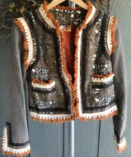 TORY BURCH Quincy Fringe Jacket Blazer Orange Brown Wool Blend Hook Clasp Sz 4
