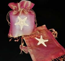Coastal Beach Style Starfish Drawstring Organza Jewelry Wedding Holiday Gift Bag