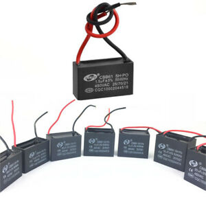 sourcing map CBB61 Run Capacitor 450V AC 2.5uF 2 Cable Metallized Polypropylene Film Capacitors for Ceiling Fan