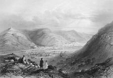 HOLY LAND Mount Gerizim & Valle of Nablous - BARTLETT Antique Print Engraving