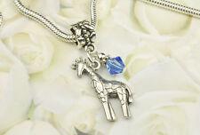 Blue Giraffe Dangle Charm Bead w Swarovski Elements European Style