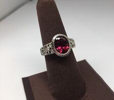 Vintage Art Deco 14k White Gold Filigree Ruby & Diamond Ring Sz 7