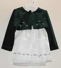 Green Velour White Chiffon Dress + Shrug Baby 18 Months Teddy's Choice NEW