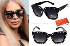 Damen Sonnenbrille schwarz Lila Luxus Nieten XL Sexy Steam Punk Strass SR4 Groß