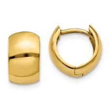 14k Yellow Gold 1/2in Tiny Diameter Hinged Hoop Huggie Earrings