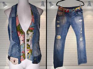 DESIGUAL Boho Patchwork Denim Jeans & Matching Waistcoat Suit - Size Medium