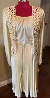 70s NOS Tags Secretary dress Accordion Full Sweep  skirt Disco 10 Crochet Vest