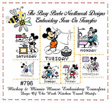 #796 Mickey & Minnie Mouse DOW Tea Towel Embroidery Transfer Pattern