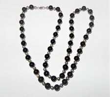 """Vintage Tiffany & Co. Sterling Silver & Black Onyx 30"""" Beaded Ball Necklace 76G"""