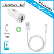 A+ 2 IN 1 Car Charger Charging Cable Voiture Chargeur For iPhone 5 6 7 iPad iPod