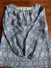 Tory Burch Women Long Sleeve Blouse Tunic Blue Patterned Gold Logo Button Sz 6