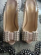 Christian Louboutin Clou Noeud Size 38 Nude Silver Spike Heels Sandals Shoes