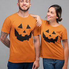 Pumpkin Face Halloween T Shirt Mens Women Kids Boys Orange Fancy Dress Costume