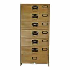 Tall Wooden Chest of Drawers Firwood Tallboy Filling Cabinet Labels Slots Handle