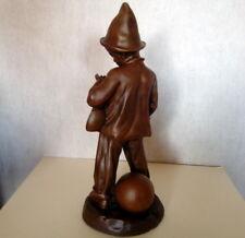 """statuette regule patine brune,  """"pierrot"""" signé DEMANGE"""