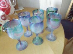 set 6 vintage hand finished multicolour wine glasses NEW