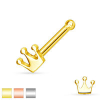 Crown Top Gold IP Surgical Steel Nose Ring Studs Bones Barbell 20G 1/4""