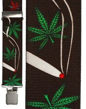 New Marijuana Leaf Suspenders Retro 420 Weed Clip On TUXXMAN Formal Tuxedo Smoke