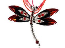 Splendid Red Enamel Ruby Dragonfly Necklace Pendant
