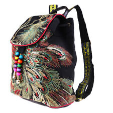 Chinese Ethnic Women Embroidery Backpack Peacock Embroidered Bags Black