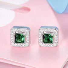 Women Princess Green Emerald Gemstone Crystal Stud Earrings Engagement Jewelry