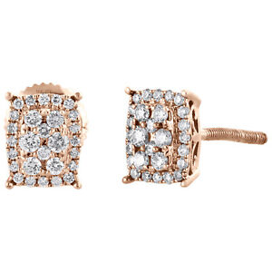 14K Rose Gold Round Diamond Cluster Rectangle Studs w/ Halo Earrings 0.25 CT.