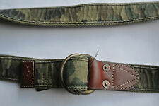 NEW POLO RALPH LAUREN RUGBY OLIVE COTTON LEATHER CAMO USRL O RING BELT MEDIUM