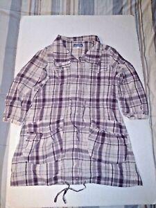 Burberry London Women's Sz 38/8 Nova Check Plaid Shirt Purple Belted Dress