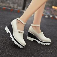 Hot Punk Womens Platform Buckle Strap Wedge Heel Mary Jane Creepers Ankle Shoes