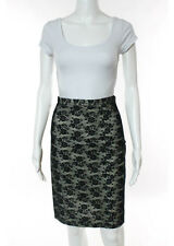 MOSCHINO CHEAP AND CHIC Black Cream Cotton Flat Front Above Knee Skirt Sz 8