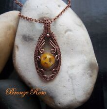 Handmade OOAK copper wire wrapped jade bead necklace