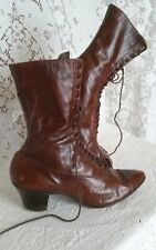 New listing Antique Vtg Early 1900's Lace Up Boot Shoe Victorian 5.5 Leather Brown Original