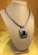 "925 Fine Sterling Silver Onyx Gemstone Pendant/ 18"" Chain Necklace  57.3 Grams"