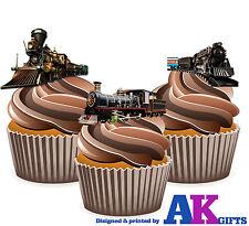 PRECUT Vintage Train Steam Engine 12 Edible Cupcake Toppers Birthday Decoration