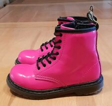 GIRLS DR MARTENS LEATHER BOOTS SIZE 9K EURO 27. PINK/BLK