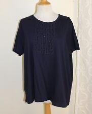 NWT Talbots -Sz 3XP 3X Dark Navy MOD Funky Embroidery Knit Shirt Top