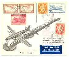 BELGIUM -CONGO --1946 SPEC FLIGHT CV -MANY POSTMARKS ---F/VF