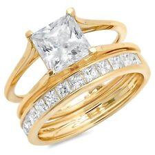 Band set Sliding 14k Yellow Gold 3.40ct Princess Moissanite Promise Bridal Ring