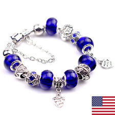 "Women 925 Sterling Silver Blue Crystal ""made with love"" Heart Bead Bracelet"